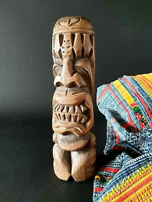 Old Carved Wooden Polynesian / New Zealand Tiki …beautiful display / collection