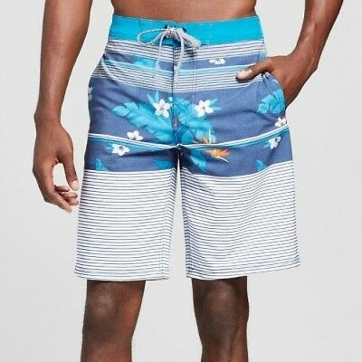 7263940295 Mossimo Supply Co. Men's sz 38 Blue Floral Below Knee Board Shorts NEW (bt36