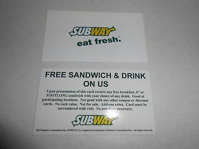 5 Subway Complimentary Meal Cards