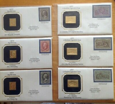 USA 22Kt Gold replicas of First Day Covers - 9 covers