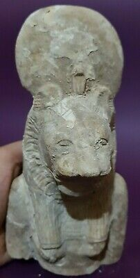 Rare ANCIENT EGYPTIAN ANTIQUES Half Statue Of Goddess SEKHMET EGYPT LIMESTONE BC