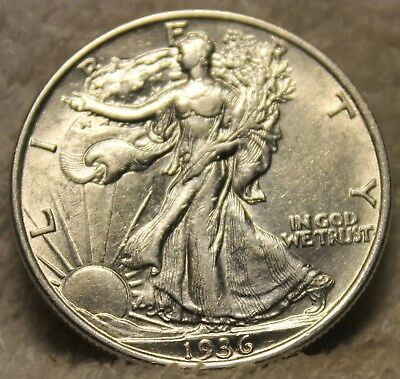 1936 AU PLUS walking liberty half dollar