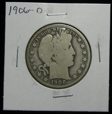 1906-D 50c Barber half dollar. Circulated. 90% silver. Denver Mint.(319030)