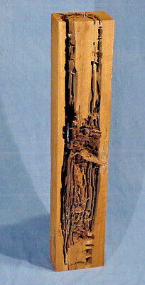 Wood Sculpture Critter Art Damage Model attributed to Termites made in the USA