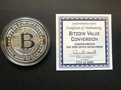 Anonymous Mint Bitcoin Value Conversion 1 Ounce Fine Silver Proof Coin #1233