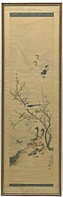 Antique Chinese Scroll Painting Ducks and Cranes Qing Dynasty Sealed Signed