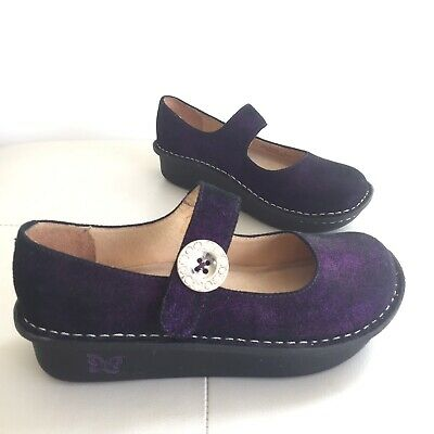 Womens Alegria Paloma Soft Purple Leather  Metalic Shoes Size 6