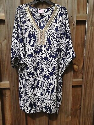 126df6c23db6 Lilly Pulitzer Navy In the Groove Wilda Caftan - beaded neckline - belt -  large