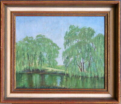Elioth Gruner (1882-1939) 1920 Original Oil Painting Yass Landscape with Willows