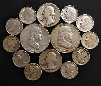 U.S. Silver Coin Lot/90% Silver/Halves,Quarters,Dimes/$2.50 Face