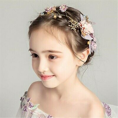 Flower Girl Gold leaf Pink Flower Hair band head piece garland tiara