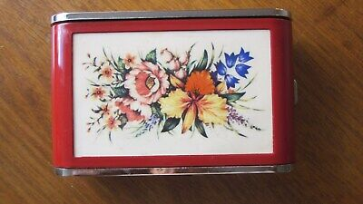 1960,s orig vint Sylvia Dandy Matered/white floral camera style musical compact.