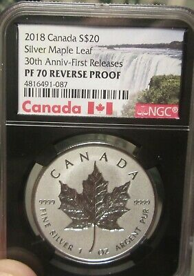 2018 Canada 1 oz Silver Maple Leaf Incuse Reverse Proof $20 NGC PF70