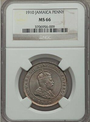 Jamaica Penny Edward VII 1910 NGC MS 66 Beautiful Rose Toning!
