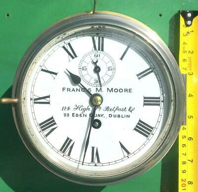 Francis Moore Belfast & Dublin Antique 8 Day Chain Fusee Mariner Ships Clock