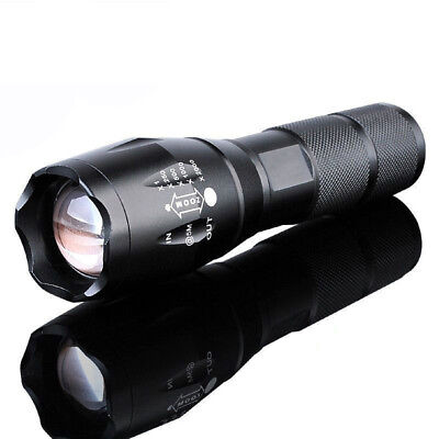 10000LM Flashlight T6 XML Zoomable Tactical Military LED 18650 Torch Light @2