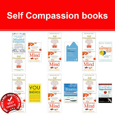 Self Compassion Books Set Compassionate Mind, Happiness Trap, You Are a Badass