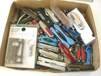 Multi Tools and Pocket Knives.Multi Function. Bulk lot of 56 items.Approx 5 kg.