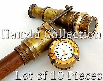 10 Units Clock Top Wooden Walking Stick With Hidden Antique Brass Telescope Cane
