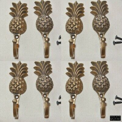 8 small PINEAPPLE BRASS HOOK COAT WALL MOUNTED HANG TROPICAL old style hook 4""