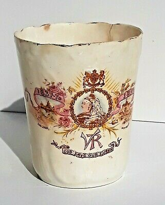 Antique Marked Queen Victoria Diamond Jubilee Beaker Lovely Old Item Scarce