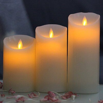 3X Remote Control Led Soft Flameless Flickering Flame Candles Pillar Church Pt