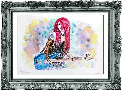 original painting  girl rock star 133UV art watercolor signed A3