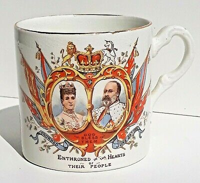 Antique G. Bros - Stoke-on-Trent King Edward VII Coronation (June 26 1902) Mug