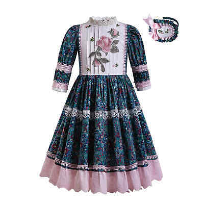 Toddler Girls Muslim Floral Print Midi Dresses Embroidery Islamic Spring Outfits