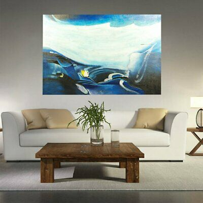 Genuine Hand Painted Canvas Oil Painting Modern Wall Art Decor - Glacier Framed