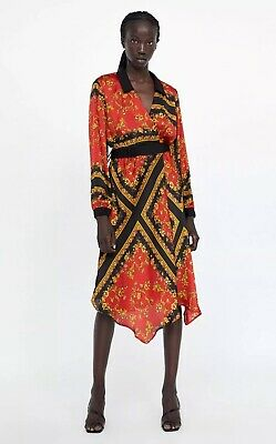 be1691785734 Zara Red   Black Scarf Floral Print Wrap Midi Dress Size M