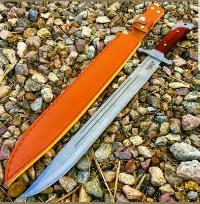 "18"" Full Tang Machete Hunting Knife Sword Wood Handle W/ Sheath Combat Outdoor"