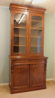 Antique Victorian Quality  Mahogany Cupboard Glazed Library Bookcase / Cabinet
