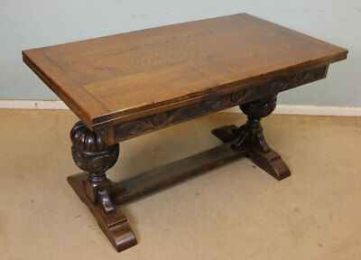Antique Oak Draw Leaf Refectory Table Extending Farmhouse Kitchen Dining Table