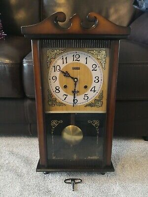 Small Vintage Wooden Decorative HOLLY Wall Clock Pendulum Chimes With Key - EX8