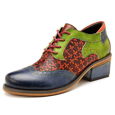 Sofiya Leather Retro Casual Single Shoes Bohemian Laser Carved Lace-up Boots New
