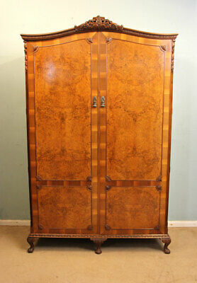 Antique 20Th Century Burr Walnut Double Wardrobe Queen Anne Style