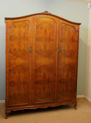 ANTIQUE BURR WALNUT 20th CENTURY TRIPLE WARDROBE