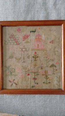 Rare Antique Embroidery / Cross Stitch Sampler from about 1843
