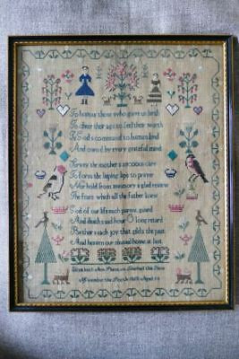 "Antique Embroidery / Cross Stitch Sampler ""Elisabeth Ann Shenton 1865"""