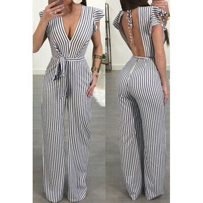 Sexy Women V neck Ruffled Striped  Shorts Party Sexy Long Jumpsuit ONE