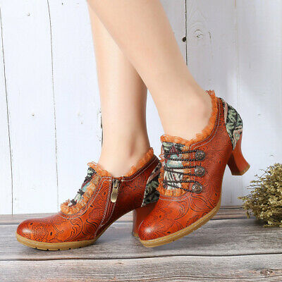 Sofiya Hand Embossed Stitching Spanish Style Leather Retro Carved Lace-up Shoes