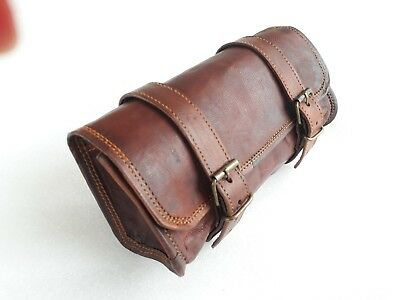 Motorcycle Pannier Saddle Pouch Goat Leather Luggage Roll Tool Bag Vintage