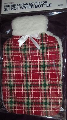 Skin Therapy 2 Litre Knitted Tartan Hot Water Bottle Cover Only