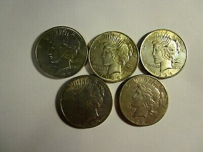 Lot of 5 Genuine Peace Silver Dollars - 1922D - 1923P- 1924P - 1925P & 1926S