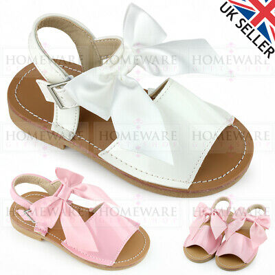 Baby Girls Bow Sandals Spanish Style Menorcan Shiny Patent White Pink 3-7 Buckle