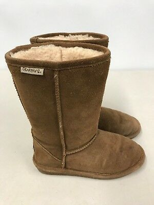 6dba7204af12 BEARPAW Girls Youth size 3 Hickory Emma Tall Sheepskin Lined Suede Boots