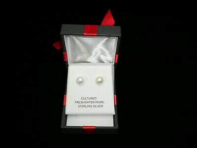 02245e599 New In Box Cultured Freshwater Pearl Sterling Silver Pierced Earrings NIB