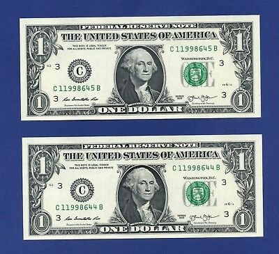 YOU GET 2! $1 2013 PHILADELPHIA Uncirculated #C/B One Dollar Notes + HOLDER