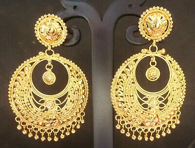 698c2a8b1 22K Gold Plated Step Jhumki Indian Wedding Jhumka Gorgeous Party Earrings c